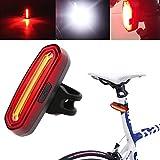 Evesun自転車テールライト、USB充電LEDランプライト120lm防水超高輝度の自転車の安全ライトモード6自転車、ヘルメット、バックパック (1x レッド&ホワイト)