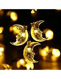 20ソーラーストリングライト、King To 月型 防水 太陽発電 LEDストリングライト電球数 電池式 結婚式、ホテル、レストラン、商業ビル、家庭、窓、クラブ、コンサート、カラオケなどに装飾