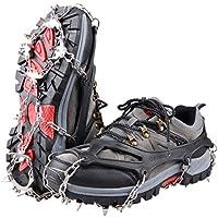 Triwonder アイゼン 18本爪 スノースパイク チェーンスパイク 靴底用滑り止め 簡単装着 収納袋付 雪山 登山 トレッキング
