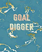 Goal Digger: Inspirational Quote Notebook, Trendy Blue Marble and Rose Gold | 7.5 x 9.25, 120 College Ruled Pages