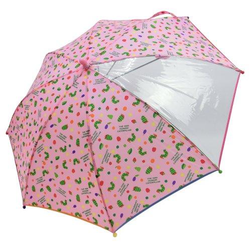 [子供傘] はらぺこあおむし 透明窓つき 45cm手開き傘 (ピンク)