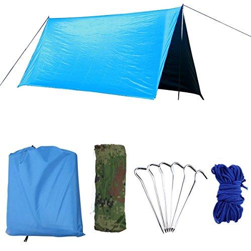 AUWOO 防水タープ 軽量 日除け サンシェルター ポータブル 天幕 シェード キャンプ 収納袋付き 3-5人用(ブルー)