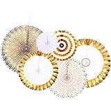 TINKSKY ペーパーファン ぶら下げ金メッキ紙ファン 手作りファン 結婚式誕生日装飾6pcs(直径20/30 / 40cm,金色)