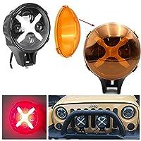 60W LEDフロントバンパースポットライト 補助LEDオフロードライト 作業灯 龍版前杠射灯 レッドDRL付き For ジープ・ラングラー SUV 4WD車用(アンバーカバー無料)2個セット 1年間保証付き