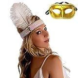 【コスプレ】Madrugada スパンコール 羽根飾り インディアン サンバ スタイル S275 (ホワイト)