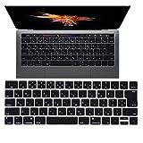 MacBook Pro キーボードカバー,AutoGo Apple New MacBook Pro 13 15 インチ 2016 Touch Bar搭載モデル 日本語 JIS配列 キースキン JISレイアウト キーボード 防塵カバー 【 ブラック 】