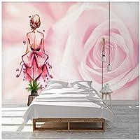Mrlwy カスタム壁紙ピンクの女の子バックペインティング背景壁防水壁画-350X250CM