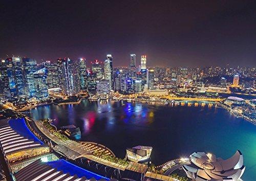 絵画風 壁紙ポスター (はがせるシール式) シンガポール マリーナ・ベイ 夜景 マーライオン キャラクロ SGP-001A2 (A2版 594mm×420mm) 建築用壁紙+耐候性塗料