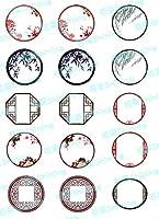 【5枚セット】 和風フレーム1 レジン封入用 イラストシート レジン シート 透明シート 素材
