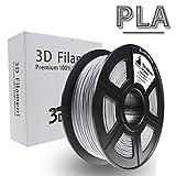 3D Hero 3DプリンターフィラメントPLA,銀色(明るい灰色に近い)、PLAスフィラメント1.75mm、無臭、寸法精度+/-0.02mm、3D印刷フィラメント、2.2LBS(1KG)のスプールフィラメント。3Dプリンター、3Dペン、100%バージン原料
