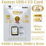 2x 32GBマイクロSDHCカードu3Plus SDアダプタパック。Amplimクラス10UHS - I MicroSDHC Extreme Pro 95MB / s読み取り、90MB / s Write。Ultra High Speed HD UHD 4Kビデオ。内部/外部MicroSDフラッシュメモリストレージ