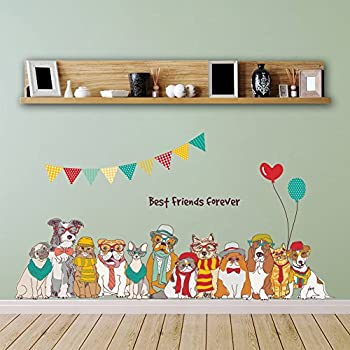 Dragon Honor ウォールステッカー かわいい 犬 ワンちゃん 欧米風 DIY 動物ステッカー 子供部屋 ペット病院 賃貸 おしゃれ 壁紙シール インテリア雑貨 はがせる