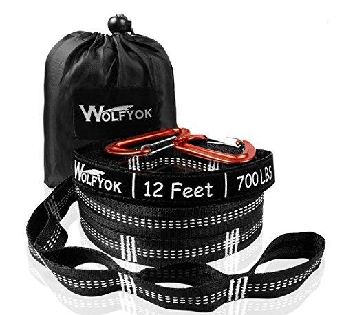 ハンモック用ベルト Wolfyok ハンモック固定ロープ 2本セット 収納袋とフック付き (長さ3.65m ノード20個 ...