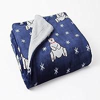 1ピースブルー色PlushベルベットSmartyベアパターンスロー毛布、ネイビーホワイトスター動物プリントリバーシブルSherpa Plush Teenテーマキッズ寝具ベッドルームのカジュアル、ポリエステル
