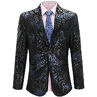 Men's Dress Floral Suit Notched Lapel Tuxedo Jacket Slim Fit Stylish Blazer
