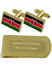ケニアの国旗のゴールド?トーン カフスボタン お金クリップを刻まれたギフトセット