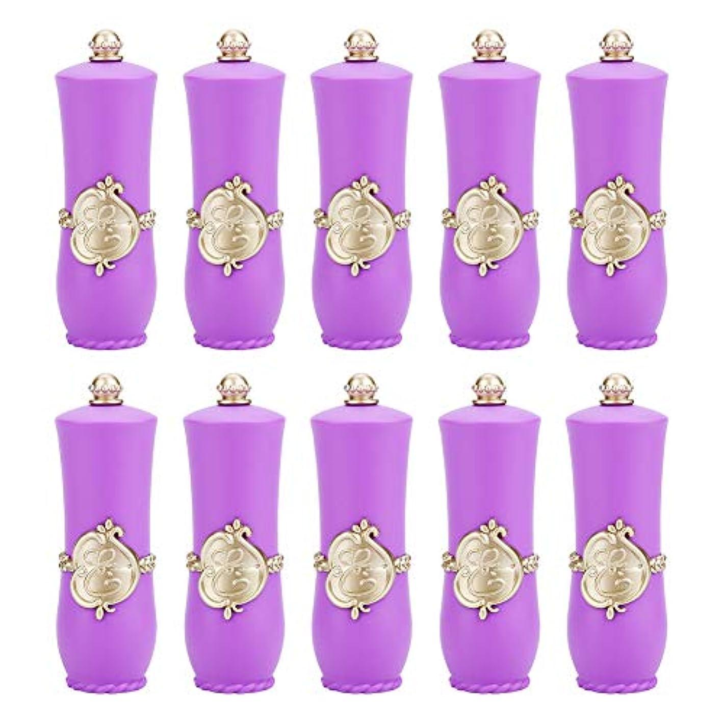 砂利特徴抽出空の口紅チューブ、ロイヤルスタイルDIY口紅空容器自作口紅型リップクリームチューブ(Purple 10Pcs)