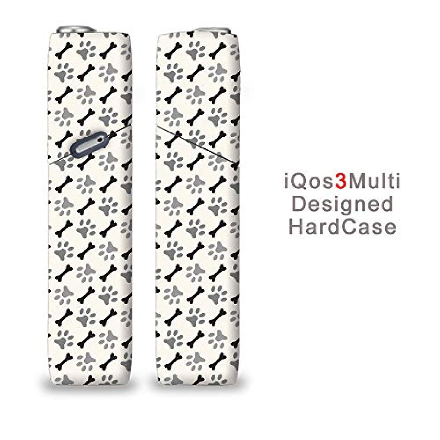 一見もしガレージ完全国内受注生産 iQOS3マルチ用 アイコス3マルチ用 熱転写全面印刷 肉球と骨 加熱式タバコ 電子タバコ 禁煙サポート アクセサリー プラスティックケース ハードケース 日本製