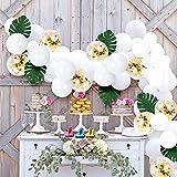 白バルーンセット 110個 ホワイト ゴールド 誕生日 ウェディング 結婚式 紙吹雪 風船 ミックス 混合色 アーチガーランド 人工葉 結びツール