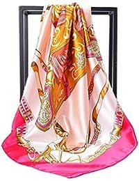 女性のシルクスカーフのためのHijab Scarfsプリントサテンのシルクスカーフ大きなスクエアスカーフ、90X90CM