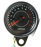 M0N0liTH 黒 高品質 高輝度 LED バックライト 付き メーターの針も発光 タコメーター 電気式 13000 回転 12V 汎用 モンキー ゴリラ カスタム 用に ブラック