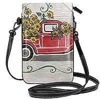 素朴なビンテージ赤いトラックひまわりモノグラム レディース、女の子用ショルダーストラップ付きクロスボディ財布携帯電話財布ミニショルダーバッグ
