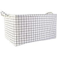 ストレージバスケット服収納袋ランドリーバスケットを厚く、白、ラージサイズ