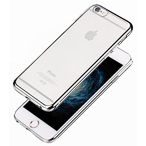 COOLOO iPhone6S ケース iPhone6 ケース iPhone6S plus TPUメッキ加工 超薄型耐衝撃 最軽量 一体型 耐久性が高い 電波影響無し 取り出し易い クリアタイプ TPU 透明 カバー アイフォン6s/6/plus対応 全五色(iPhone6 plus シルバー)