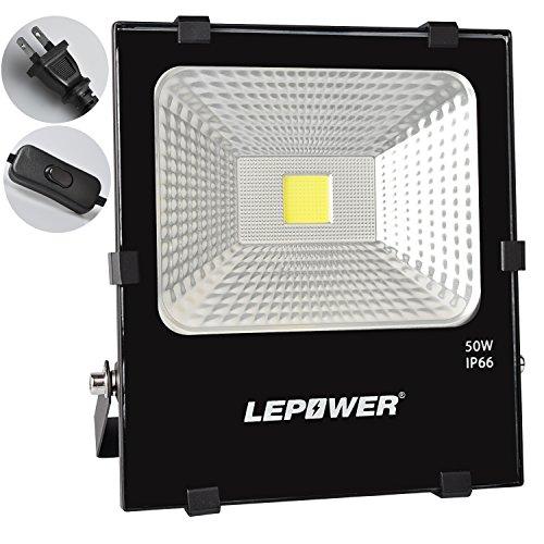 LED投光器 フラッドライト 作業灯 50W 家庭電源でもOK IP66完全防水 屋外照明 ガーデン照明 昼光色 スイッチ付き 2Mコード 18ヶ月保証