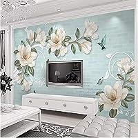 Lixiaoer カスタム3Dヨーロッパ現代手描きマグノリア花壁画壁紙リビングルームの寝室の背景防水3D壁布-280X200Cm