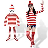 #6: ハロウィン 仮装 大人 レディース コスプレ ウォーリーを探せ コスチューム 女の子 4点セット(シャツ・帽子・メガネ・ソックス) (Mサイズ/女性)