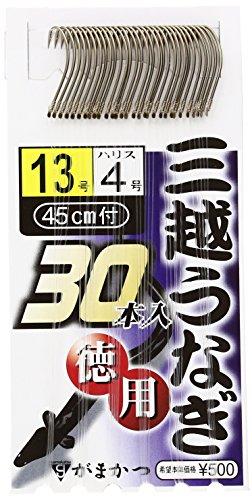 がまかつ(Gamakatsu) うなぎ針 三越うなぎ(糸付 徳用) 13号 ハリス4号 30本 茶
