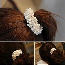 CS Pxio Fashion Artificial Pearl Ribbon Hair Band Hair Ornament-White
