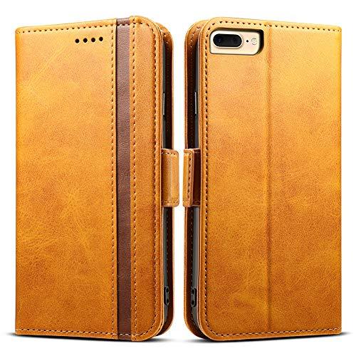 iphone8 plus ケース 手帳型 iphone7 plus iphone6s plus - Rssviss アイフォン8plus 7plus 6s plus 6plus 四機種対応 サイドマグネット カード収納 Qi充電対応 横置き機能 高級PUレザー (iPhone6/6s/7/8 plus兼用) W5 ブラウン5.5inch
