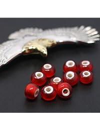 「silverKYASYA」10個 ホワイトハーツビーズ7mm-8mm フェザーネックレス制作 カスタムパーツ 赤ビーズ ホワイトハーツ 10個セット