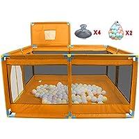 バスケットボールのフープ/ボール付きベビープレイペンFoldableポータブルルームデバイダ子供/子供/青、オックスフォード布 (色 : オレンジ)