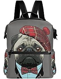 d9e79bb760d4 VAWA リュック 大容量 おしゃれ かわいい 犬柄 パグ リュックサック 高校生 防水 多機能バッグ