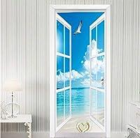 Mingld 3D壁紙窓シーサイド風景ドアステッカーリビングルームダイニングルームの背景ウォールステッカー防水-350X250Cm