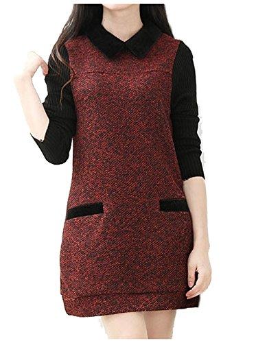 [해외](소로 투) SOLO TU 트위드 도킹 튜닉 풀오버 벨벳 칼라 니트 소매 다른 소재 전환 여성/(Solo To) SOLO TU tweed docking tunic pullover velor collar knit sleeve different material switched ladies