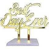 【送料無料】 ケーキトッパー「Best Day Ever」ゴールド  ウエディングケーキトッパー/アクリルケーキトッパー/ウエディングケーキ用飾り/Wedding Cake