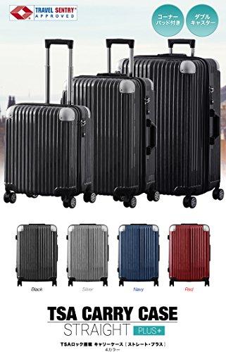 FIELDOOR TSAロック搭載スーツケース (Mサイズ) コーナーパッド付 ダブルキャスター ブラック 鏡面ヘアライン仕上げ トラベルキャリーケース リブ構造 ポリカーボ樹脂 軽量 耐衝撃 容量拡張機能 ダブルファスナー