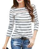 (リグリ) LIGLI Tシャツ カットソー レディース 透け シースルー ボーダー 七分袖 収納袋セット ホワイト M