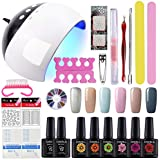 COSCELIA 24W LED lamp Nail Dryer UV Primer Top Coat 6 Colors Soak Off Nail Starter Kit Gel Nail Polish 10ml