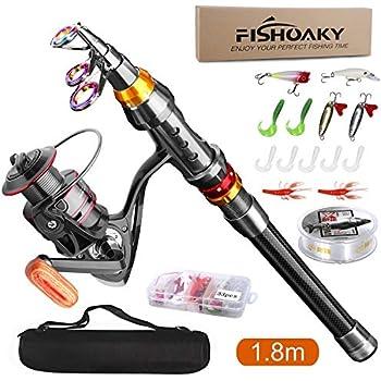 FishOaky 釣りセット 釣竿セット ロッド スピニングリール 釣り竿 炭素伸縮釣竿 2.1m 釣具セット 投げ釣り 海釣り 初心者 子供 上級者 (1.8M釣り竿セット)
