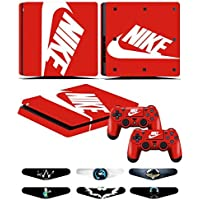 PS4 Slim Skins - Decals for PS4 Controller Playstation 4 Slim - Stickers Cover for PS4 Slim Controller Sony Playstation Four Slim Accessories with Dualshock 4 Two Controllers Skin - Nike Logo [並行輸入品]
