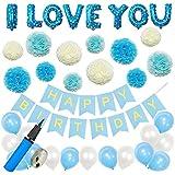 Mainiusi 誕生日 飾り付け バルーン セット 男の子 HAPPY BIRTHDAY ガーランド ペーパーフラワー I LOVE YOU ブルー 風船 バースデー パーティ デコレーション 生日会 祝い 装飾(両面テープ、空気入れ付き、合計43点セット