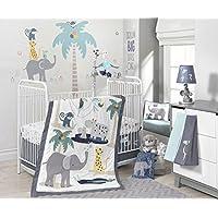 Lambs & Ivy Animal Crackers Jungle 4 Piece Crib Bedding Set Gray/Blue [並行輸入品]