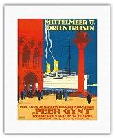 地中海とオリエント - 海運会社ビクターSchuppe - ツインスクリュースチーマーペール・ギュント上の地中海とオリエントクルーズ - ビンテージな遠洋定期船のポスター によって作成された ルドルフ・リュファー c.1925 - キャンバスアート - 28cm x 36cm キャンバスアート(ロール)