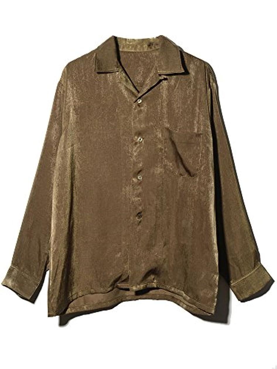 情熱的石のプラグLOS(エルオーエス) サテン 生地 ビッグシルエット 長袖 オープンカラーシャツ 無地 メンズ LS22881