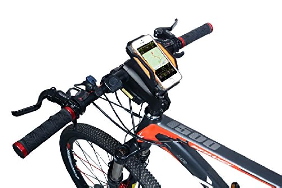 甘やかす保安間違いアウトドア 自転車 用 スマートフォン ホルダー パワーバンク モバイルバッテリー GPS iPhone GALAXY 対応 グリーン